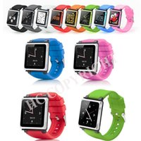 Wholesale Q Watches - Wholesale- 6 Multi-color iwatchz Q Collection Silicone Wrist Watch Strap Soft Case Cover for 6th Generation Fit your iPod Nano