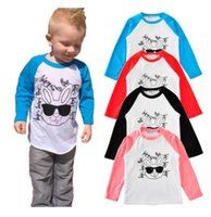 Wholesale Summer Striped Shirts For Boys - INS Kids Clothing T shirts Cotton Rabbit Long Sleeved Boys Clothes Raglan Sunglasses Letters bottoming Kids T-shirts for Girls Tees Clothes