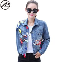 Wholesale Embroidery Butterfly Patch - Wholesale- Plus Size Spring Autumn Coat 2017 New Fashion Women Casual Patch embroidery buds tassel butterfly Vintage Denim Basic Jackets