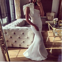 Wholesale elegant sexy one shoulder - Elegant White Evening Dresses 2018 One Shoulder Satin Mermaid Prom Dresses Floor Length Cocktail Party Dress Women Cheap Formal Wear