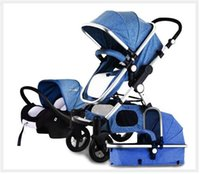 Wholesale Stroller Two Seat - New Luxury Strollers Baby pram 3 in 1 Two-way 360 Degree High Landscape Infant Baby Strolle with Car Safety seat Sleeping Basket