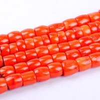 Wholesale Drum Coral Beads - 1pack lot High quality Drum shape orange red coral loose spacer beads DIY for bracelet necklace jewelry making