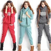Wholesale Motorcycle Hooded Sweatshirts - Winter Sports Suit Women Sweatshirts+Waistcoat+Pants Tracksuit Hoodie Set Ornate