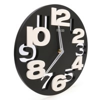 Vente en gros-Rondes Horloge murale Design moderne 3D Big Digit Modern Contemporary Home Decor Wall Clock