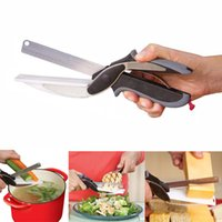 Wholesale Knife Potato Wholesale - New Magic NEW clever smart 2 in 1 utility cutter knife&board stainless steel cutter Meat Potato cheese vegetable multi-function scissors Kit
