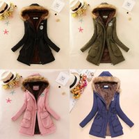 Wholesale Pink Jacket Fur Collar - Wholesale-2017 New Winter Women Jacket Coat Hooded Fur Collar Parkas Female Thickening Cotton Winter Jacket Womens Outwear Parkas for Female