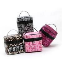 Wholesale Double Makeup Bag - VS PINK Cosmetic Bag Victoria Classic Love Pink Secret Double Zipper Handbag Portable Storage Bag Pink Letter Makeup Travel Pouch Popular