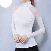 Wholesale Turtle Neck Stand Collar - Hot Women Blouses Casual Tops Turtle Neck Long Sleeve Mesh Patchwork See Through Shirts Slim Blusas Plus Size S-5XL