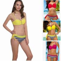 Wholesale Stripe Bottom Swimsuit - Women Push Up Bikini Set Swimwear Sexy Brazilian Swimsuit Fashion Bathing Suit Stripe Beachwear Biquini Top Bottom KKA1485