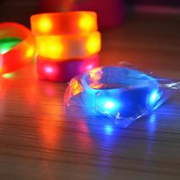 Wholesale Heart Led Wedding - In stock Sound Control Led 7 Color Flashing Bracelet Light Up Bangle Wristband Music Activated Night light Club Activity Party Disco