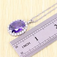 Ashion Jewelry Sets Elegant Purple Zircon Jóias Set para Mulheres Silver Color Crystal Rings / Earrings / Necklace Party Wedding Anniversary E ...