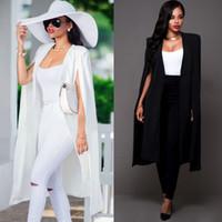 Wholesale Women S Rayon Blazers - Wholesale 2017 Women Fashion Blazers and Jackets White Black Slim Long Cape Blazer Coat Double Breasted OL Coat Outwear S-XXL