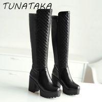 Wholesale Warm Tall Winter Boots - Wholesale-Women Winter Warm Fur Knee High Boots Platform Thick Heels Fashion Side Zipper Tall Boot Footwear Black White