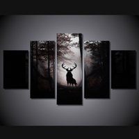 Wholesale Framed Deer Pictures - 5 Pcs Set Framed HD Printed Deer Forest Animal Picture Art Canvas Print Room Decor Poster Canvas Oil Painting