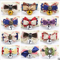 Wholesale Luxury Pet Products Wholesale - Dog Collars 2017 Adjustable Leather Dog Collar Pet Grooming Rabbit Cat Puppy Bells Bow Luxury Lace Bowtie Pet Dog Puppy Lovely Pet Product