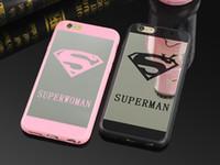 Wholesale luxury chrome case - Luxury Superman Superwoman Mirror Surface TPU Case For iPhone 7 7 Plus 6s 6 Plus 5 5s SE Chrome Back Cover Cases Coque Fundas
