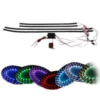 """Wholesale Under Car Led Neon Lights - 7 Color 4pcs LED Under Auto Car Underglow System Neon Lights Kit Strip With Wireless Remote Control 2 x 36"""" & 2 x 48"""""""