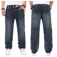 Wholesale Denim Pants Large - Wholesale- Autumn Spring Large Size Mens Baggy Hip Hop Jeans For Men Loose Fit Denim Jeans Men Skateboard Pants Big Size 38 40 42 44 46