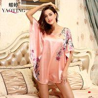 Wholesale Plus Size Pink Nightgown - Wholesale- H1687 Top Sale Nightgowns Sleepshirts 2016 Satin Silk Plus Size home Bathrobe female Women Sleepwear Dressing Gown Floral Gown