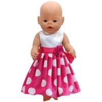 Wholesale Gothic Baby - Baby Born Doll Clothes White Dot Red Dress Fit 43cm Zapf Baby Born Doll Accessories Birthday Gift X-124 Girls toys