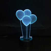Cadeau créatif 3D conduit Lampe 7 Couleur Modifiable Atmosphère légère Magic Balloon USB Design Night Lights