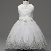 Barato Vestido De Noiva Com Arco Pequeno-Real Photo Wedding Flower Girl Dresses Bow Lace Sequined Appliques A Line Andar Comprimento Sleeveless Small O Neck Girls Party Dresses