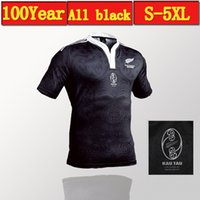Wholesale Extra Large Cotton - 2017 new All Black new zealand home rugby Jerseys 100 thanniversary year top Thailand quality rugby shirts Extra large size S-4XL-5XL