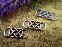 Wholesale Double Connector Charms - 100pcs--Double Infinity charms,Antique Tibetan Silver Wire Mesh Double Infinity symbol Charm Connector for Bracelet 13x33mm