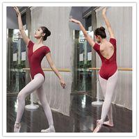 Wholesale Professional Dance Leotards - Ballet Leotard For Women Cotton Short Sleeve Lace Ballet Dancing Costume Professional Adult Gymnastics Leotards