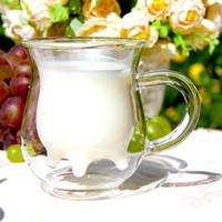 leite de leite venda por atacado-Atacado-Frete grátis resistente ao calor parede dupla de vidro criativo caneca de leite garrafa de leite de vaca leiteira de vidro caneca de café 250 ml