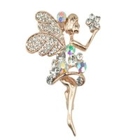 Wholesale Gilt Angels - Wholesale- Gilt Rhinestone Angel Wedding Pins females brooch Christmas gift Free Shipping