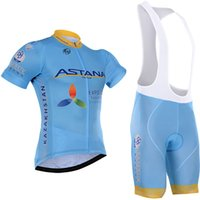 Wholesale Astana Cycling Team - tour de france Team 2016 ASTANA cycling jersey straps shorts set 100% polyester quick dry pro bicycling jersey gel bike shorts suit