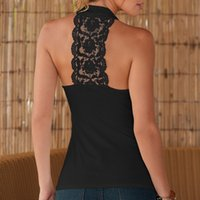 Wholesale Thin Slim Camisole - Wholesale- Summer Women Slim Bodycon Thin Solid O-neck Camis Sleeveless T Shirts With Halter Strap Female Camisoles Tank Tops Patch Lace