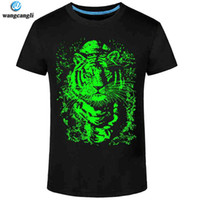 kısa kollu kişiselleştirilmiş t toptan satış-Toptan-2017 Yaz Yeni 3D t-shirt erkekler Eğlence Floresan Kişiselleştirilmiş Kısa kollu Aydınlık Tee Gömlek Üstleri Erkekler T-shirt 3XL giysi
