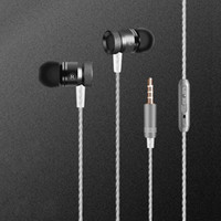Wholesale Jack Mic For Mobile Phone - Metal 3.5MM Jack Stereo Surround Bass wired in ear earphones With Mic Ear Buds For Mobile Phone Headset