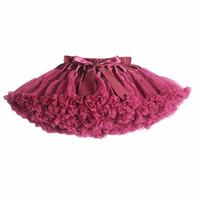 tutu rosa esponjoso al por mayor-Nuevo 2017 Caliente 21 Colores Vintage polvoriento rosa / Gris plata / Vino / Azul marino Baby Girl Fluffy Pettiskirt Niñas Falda del tutú Niños Enagua
