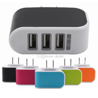best led dock - Wall charger Travel Adapter For Iphone 6S Plus Colorful Home Plug LED USB Charger For Samsung S6 3 ports usb charger