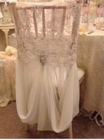 sillas cubre fajas al por mayor-Enlace para la funda de la silla Romántica Hermosa y barata Encaje de gasa Imagen real Silla Fajas de colores Suministros de boda A01