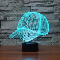 Wholesale Color Changing Led Nightlights - Wholesale- MLB Cleveland Indians Team Baseball Cap 3D Illusion Nightlight 7 Color Changing Led Desk Table Lamp Home Decor Gadgets 3472