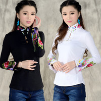 Wholesale chinese collar black shirts - Wholesale-Chinese style shirt women's 2016 autumn spring ethnic black white stand collar embroidered t-shirt female long-sleeve top blusa