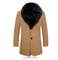 Wholesale Custom Long Trench Coat - Wholesale- Custom made New arrival men wool coats thick woolen blends medium-long trench coat Single Breasted outwear