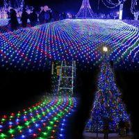 ingrosso led barre di luce ac-All'ingrosso-3M * 2 M impermeabile LED Net Mesh Fata String Lights ice bar lampada per Indoor Outdoor Twinkle giardino di casa Festa di Natale di Nozze