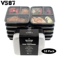 Wholesale Kitchen Containers Wholesale - 10Pcs 3 Compartments Meal Prep Container Lids Food Storage Lunch Box Stackable Microwavable Home Kitchen Dinnerware Supplies
