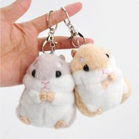 Wholesale plush yellow bunny online - Soft Plush Fur Bunny Doll Keychain Cartoon Cute Hamster Keychain Keyring Plush Purse Bag Charms Pendant Key Chain Ring Holder