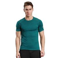 sommer trainingsanzug großhandel-Herren Sport Kurzarm T-Shirt Training Stretch Sweat Lauflehrer Anzug Sommer Fitness Uniformen schnell trocknende Strumpfhose