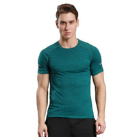 Wholesale Stretch Sport T Shirts - Male sports short-sleeved T-shirt training stretch sweat running instructor suit summer fitness uniforms fast-drying tights