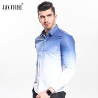 jaques roupa venda por atacado-Atacado-JACK CORDEE Marca 2017 Moda Masculina Camisa Branco Gradiente Design Slim Fit Camisa Dos Homens Casuais Roupas de Manga Longa Camisas de Roupas