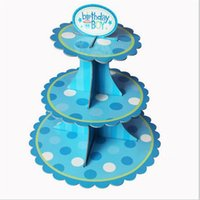 Wholesale Disposable Party Trays - Wholesale-New 3Tier Cardboard Cupcake Cake Muffin Dessert Plate Tray Decorator Dessert Dish Christmas Wedding Birthday Party Decoration