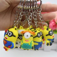 Wholesale Despicable Keyrings - European And Amerian Anime Keychain Soft Silicone Despicable Me Key Chain Cute Mini Minions Doll Keycover Bag Pendant Keyring Jewelry