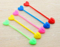Wholesale Heart Shaped Plastic Bag - Multi-functional bag clips plastic Sealing food clamp Snacks clip folding silicone food closure heart shape Radom Color TOP1764